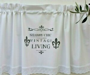 Shabby Chic GARDINE Scheibengardine Französische Lilie VORHANG Landhaus Vintage