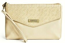 NWT GUESS HAYDEN WRISTLET BAG Gold Logo Clutch Pouch Handbag Wallet GENUINE