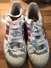 adidas superstar Girls size 5 Shell Toe White With Pink Stripes
