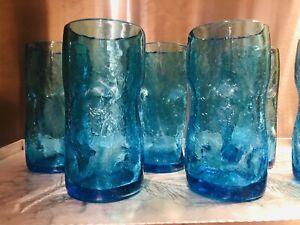 "Blenko Crackle Dimple Tumblers Set Of 6 Vintage 6"" Handblown Glasses"