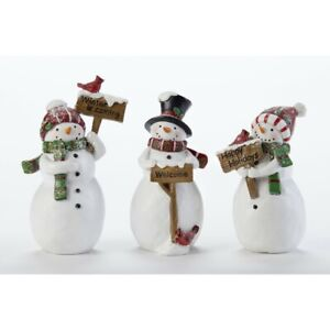"""Delton 4.7"""" Resin Snowman with Sign Figurine, 3 Asst"""