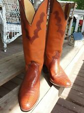 Justin Womens 8 B Cowboy high top Redwood Boots Brown lizard leather