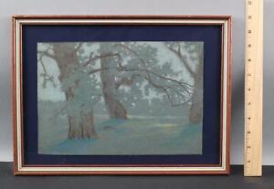 Antique ADOLF KAUFMAN Austrian Impressionist Pastel Wooded Landscape Drawing