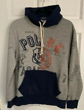 POLO RALPH LAUREN Men's Sweatshirt XL Varsity Patchwork Hoodie Grey Blue