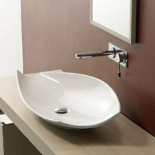 Ceramic Bathroom Sink, White Scarabeo 8052-No Hole-637509878702 Designer Vessel