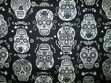 SKULLS GLOW IN DARK FANCY SUGAR SKULLS BLACK COTTON FABRIC BTHY