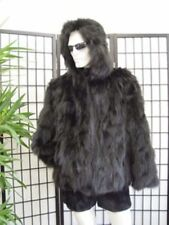 NEW BLACK FOX FUR BOMBER JACKET W/ HOOD MEN SIZE ALL