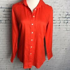 J CREW Linen Size 2P Perfect Orange Button Front Shirt ED128