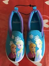 DISNEY FROZEN Girl ELSA & ANNA CANVAS Slip On Shoes Toddler sz 7,8, 9,10,11,12