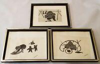 3 Vintage Agnes Nanogak Eskimo Stone Cut Prints Signed And Framed