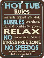 Retro Tin Signs Hot Tub Rules Poster Metal Plate Bathroom Room Wall Decor