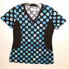 White Cross Womens Notch Neck Stretch Side Dots Print Scrub Top Size S