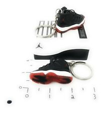 Hand Painted Retro OG Pair of 3D Mini Shoe Keychains with Box Playoffs Bred