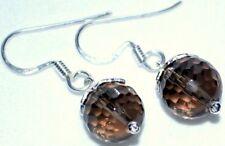 Sterling Silver Smoky Quartz Drop Earrings Authentic Gemstone 925 Jewellery
