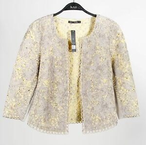Nic + Zoe Womens Jacket Blazer Yellow Taupe Floral Overlay Collarless S New