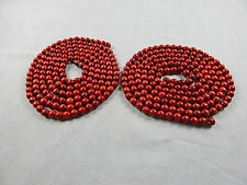 "Two 9 1/4 Ft Red Wood Garlands with 1/2"" Wide Beads"
