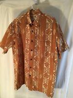Hilo Hattie Orange beige tan leaf leaves hawaiian Aloha Shirt Size Small Tapa