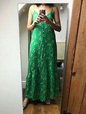 ASOS Green Maxi Dress Strappy Floral-Print Size 8