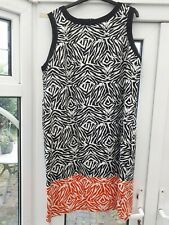 GEORGE FOR ASDA COTTON DRESS SIZE 22 BLACK & WHITE AND BOTTOM RED & WHITE BAND