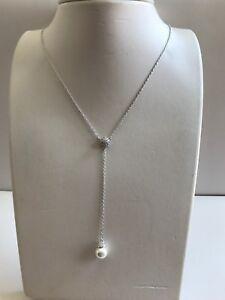 DROP PEARL NECKLACE PENDANT W/ LAB DIAMONDS & PEARL  / 925 STERLING SILVER