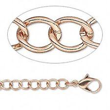 "Western Jewelry 5 X 4 mm Curved Copper Oval Bracelet W/Lobster CLAW 7 1/2"" Long"