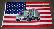USA TRUCK FLAG 3X5 FEET TRUCKER TRUCKING UNTIED STATES OF AMERICA 3'X5' NEW F75