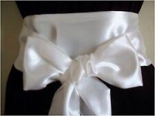 """NUOVO 3,5 """"x100"""" Avorio Raso Sash Belt Self TIE Bow aggiornamento Dress Prom Festa di nozze"""