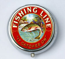 Trout fishing Line PILL CASE pillbox pill holder retro hipster fisherman outdoor