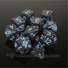 NEW 10 Blue Star Speckled Black Gaming Dice Set in Tube D&D RPG D20 D12 D8 D4 +