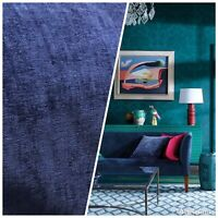 Designer Upholstery Chenille Velvet Fabric - Dark Blue- By The Yard