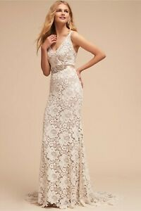 BHLDN Ranna Gill Andrea Wedding Gown Lace Size 2 NEW V-Neck