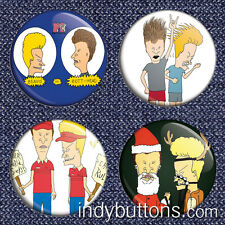 "4-Piece Beavis and Butthead 1"" 90s Tv MTV Pinback Buttons / Pins / Badge Set"