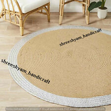 "5""Feet Jute Natural Braided Rug 100%Handmade Round Decor Dining Floor Living Rug"