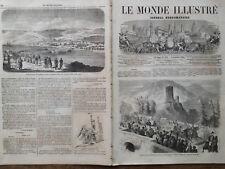 LE MONDE ILLUSTRE 1860 N 178 PASSAGE DE LEURS MAJESTES A LA ROCHE ENTRE ANNECY..