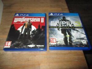 Lot jeux ps4-Sniper Ghost Warrior 3+Wolfenstein II-Version Française-Tbe
