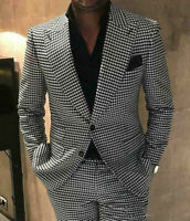 Houndstooth Suits Groom Peal Lapel Men Tuxedos For Wedding Dogstooth Prom Suits
