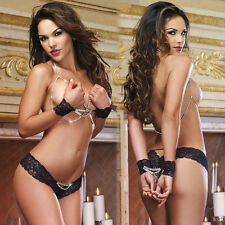 Women Nipple Exposed Lingerie Nightwear Black Lace Tempt Glitter Chain Sexy