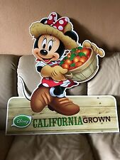 RARE ALBERTSONS STORE DISNEY DISPLAY MINNIE M CALIFORNIA GROWN DOUBLE SIDED SIGN