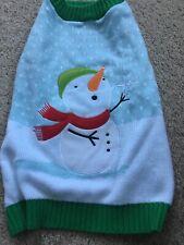 Dog Sweater Medium Snowman Christmas Winter Blue White