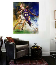 Larry Bird vs. Magic Johnson Classic Finals Battle Canvas Wall Art Print 30 x 24