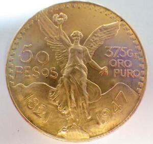 """Mexican Gold """"Centenario"""", 50 Pesos Coin, 1947, 37.5 Grams Pure Gold 1.2057 Toz."""