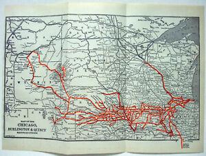 Chicago Burlington & Quincy Railroad - Original 1917 System Map. Antique CBQ
