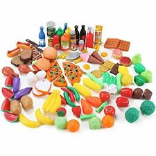120 Piece Deluxe Pretend Play Colorful and Realistic Food Assortment Set Fun Kid