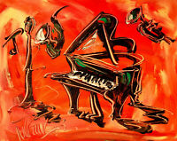 JAZZ MUSIC  by  Mark Kazav  Large Abstract Modern Original Oil Painting p45Y