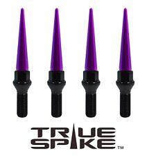 20 TRUE SPIKE 12X1.5MM 28MM SHANK STEEL LUG NUT BOLTS W/ PURPLE EXTENDED SPIKES