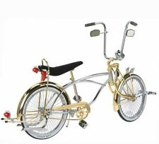 "New 20"" Lowrider Deluxe Bike Chrome-Gold with 72 spokes Bent Fork"