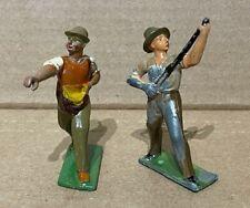 "Vintage Lead Figure Soldier Lot of 2 w/ Pole Stick Gun Hat Feed Bag Barclay 3"""