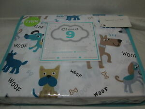 NEW Cloud 9 PUPPY PLAY WOOF Twin Sheet Set ~ Brown, Blue, Teal, Grey NEW