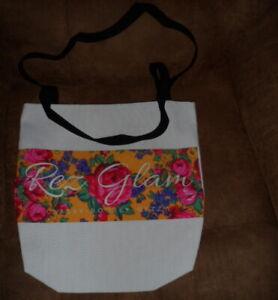 Rez Glam - Flowers Tote Handbag Purse Beach Bag - Reversible- New