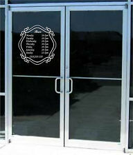 Custom Business Store Hours Sign Vinyl Decal Sticker 14x14.5  Window Door Glass